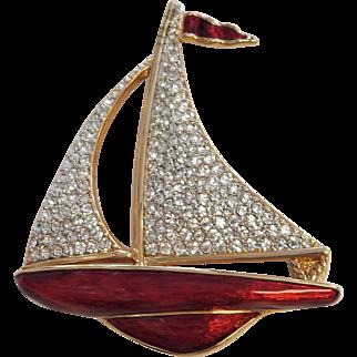 Vintage Enamel & Crystal Sailboat Pin