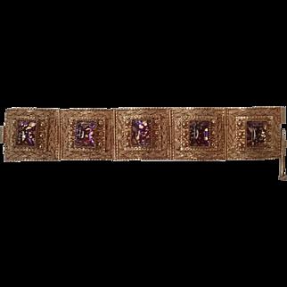 Vintage Art Glass Vermeil 5 link Bracelet