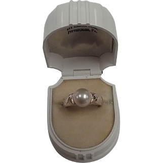 Vintage 14kt yellow gold Pearl ring - Made in the Islands