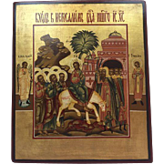 A Russian icon with a representation of Christ's inauguration in Jerusalem - Russia - Late 19th century