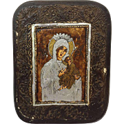 """Hand-painted icon on canvas and panel """"Mother of God of Passion"""" - Greece - 20th century"""