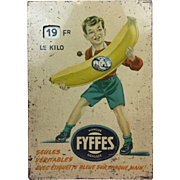 Rare tin price display Fyffes - Ca. 1940 - 1960
