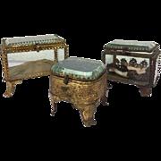 Three bijoux boxes of biseauté cut glass - France - ca. 1890