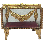 Antique French jewelry glass 'Eglomise' box - D'Algerie - France - First half of the 20th Century