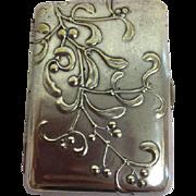 Silver-plated cigarette case - Art Nouveau - Approx. 1900