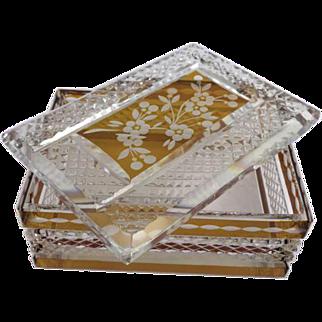 Bohemian crystal cigarette box for on a desk - Czech Republic, Ca. 1930