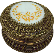 Jewel box: cranberry glass with gilded filigree with top of milk porcelain and hand painting - France - Approx. 1880