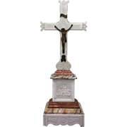 Marble crucifix on a pedestal - Italy - 19th century