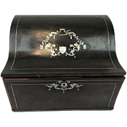 Napoleon III bois noirci pstationary chest, inlaid with silver, bone and mother-of-pearl - Ca. 1830