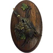 Miniature image on wooden plaquette - shot down duck - spell - signed - late 19th century