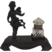 Romantic ink set with crystal jar - Approx. 1920/1930