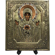 Icon with copper riza and enamel - Mother God of the sign of Novgorod - Russia - 19th century