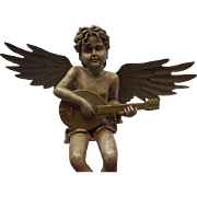 Angel with banjo of pottery and metal patinated wings - France - early 20th century