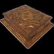 Geometric encrusted intarsia box - France - Circa. 1920