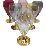 Lot of 6 colored glasses with gilded foot
