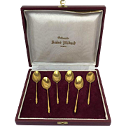 Six gilt spoons in nice design - Saint Medard - Paris, France - Approx. 1930
