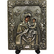 Russian icon depicting Mother Gods Hodegitria with silver riza - Russia - 19th century