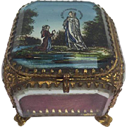 Antique French jewelry glass 'Eglomise' box - je suis l'immaculée conception - France - Approx. 1890