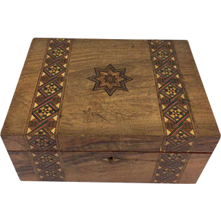 "Intarsia box inlaid in fancy pattern ""Stationery box"" - England - Approx. 1920"