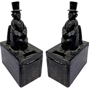 Black wooden mission bank - 2 pieces - Belgium - Ca 1930/1940