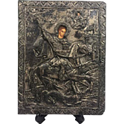 Russian icon with silvered riza in relief - Joris de Drakendoder - Russia - 19th century - With valuation report