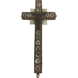 Wooden cross inlaid with mother of pearl - France - Approx. 1890