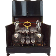 Napoleon III bois noirci liqueur cellar with brass inlays - original interior with 4 decanters and 15 glasses - France - circa 1900