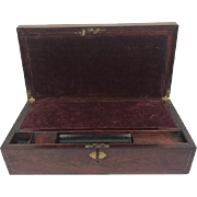 A large mahogany writing case - inlaid with brass- inlaid inside with purple velvet - England - circa 1900