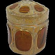 Bohemian glass Moser lid with gilded enamel - Czech Republic - Approx. 1900