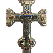Antique metal cross inlaid with micro mosaic - handmade - Rome, Italy - Approx. 1890