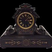 Black marble Napoleon III chimney clock - France - approx. 1880