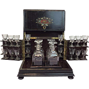 A Napoleon III Bois Noirci Liqueur Cellar - With Tortoise Inlay - France - About 1880