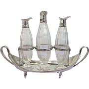 Silver plated bowl with three crystal flacons with silver spout / oil & vinegar / England - Ca. 1930