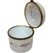 Antique white opaline jar with hand painted on the lid - France - Ca. 1920