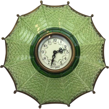 Umbrella desk clock made of brass and glass - Germany - First half 20th century
