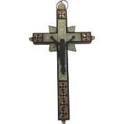 Wooden cross inlaid with mother of pearl and ebony wood - France - Approx. 1890