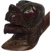 Pipe shaped like a dog head with glass eyes, made of Bruyère - Saint Claude - 20th century
