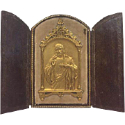 Leather house / travel altar with gilded plaque - France - Approx. 1900