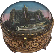 Antique French jewelry glass 'Eglomise' box - Cathedral of Metz - France - Approx. 1890