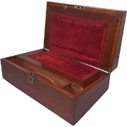 A wooden writing box inlaid with red velvet - England - circa 1920