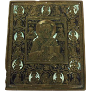 Bronze Russian enamelled travel icon of Saint Nicholas the miracle worker - Russia - Ca. 1880