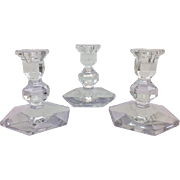Three Signed Val St. Lambert Crystal Candlesticks - small  - 20th Century, Belgium
