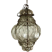 Venetian pendant lamp made of glass in metal