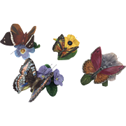 Franklin Mint - Four porcelain butterflies - Ca. 1980