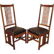 Pair of Superb & Rare Antique Gustav Stickley Spindle High Back Chairs  f369