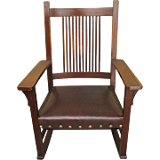Antique L&jG Stickley Spindled Rocking Chair f6420