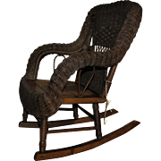 Antique Heywood-Wakefield Child's Wicker Rocking Chair  f7054