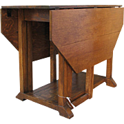 Antique Arts & Crafts Drop Leaf Table   f9773