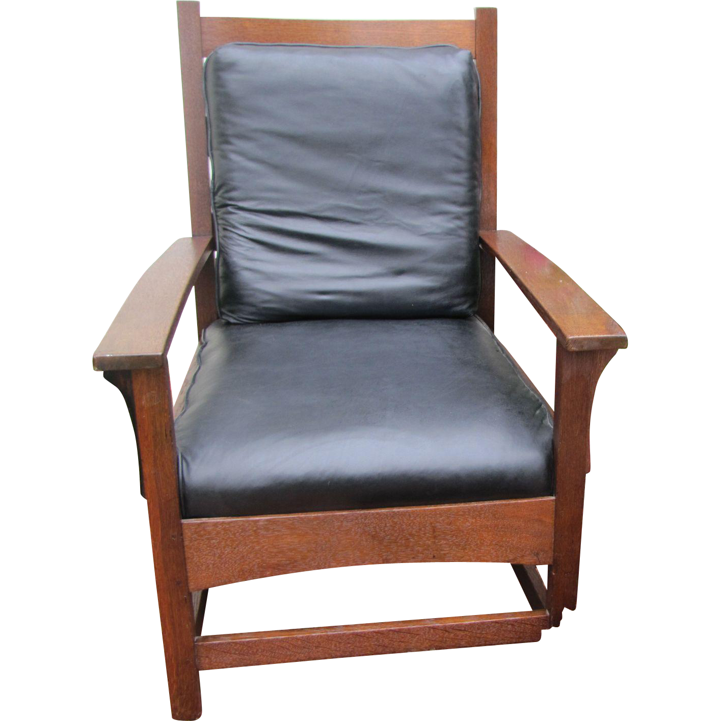 """Cowhide Barstools Vintage Black White Hairhide Leather Bar: Antique """"Stickley Brothers"""" Large Arm-Chair With Black"""