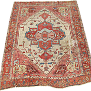 Antique Ivory Field Serapi Rug  rr253